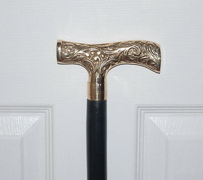 "DERBY WALKING CANE Wood & Brass HANDLE ~ COMFY 37"" STICK ~ENGLISH DOWNTON LOOK!"