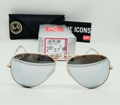 """RAY BAN gold/silver POLARIZED """"FLASH AVIATOR"""" RB3025 112/W3 58mm sunglasses NEW!"""