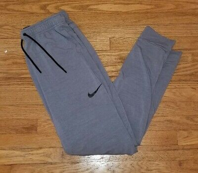 Nike Men's Dri Fit Jogger Running Pants Gray Grey & Black Swoosh Men's Medium M