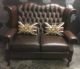 Stunning Chesterfield 2 Seater Queen Anne Wing Back Sofa Brown Leather - UK Delivery