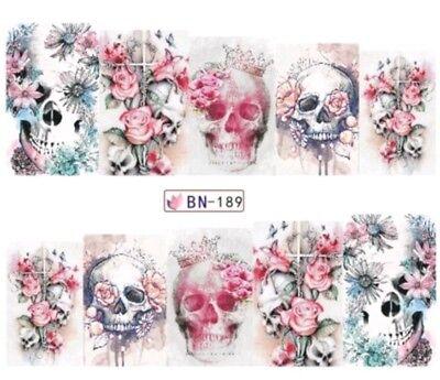 Skull Totenkopf La Catrina Blüten Schädel Nail Nagelsticker (Tattoos Skulls)