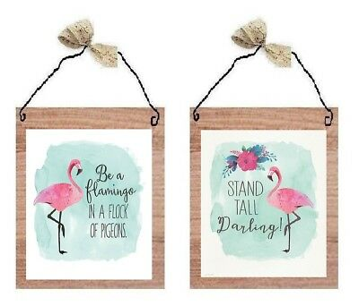 💗 Pink Flamingo Pictures Tropical Bird Decor Wall Hangings Plaques ()