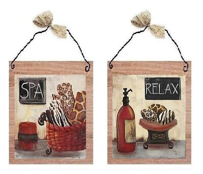 Bathroom Pictures Relax Spa Primitive Red Bed Bath Wall Hangings Decor Plaques