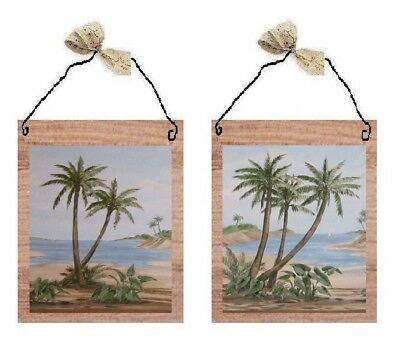 💗 Tropical Palm Tree Pictures Beach Island Ocean Decor Wall Hangings Plaques