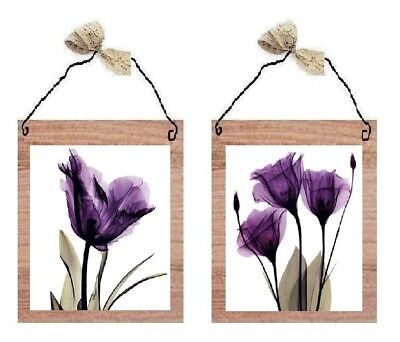 💗 Purple Flower Pictures Lavender Floral Bathroom Bedroom Wall Hangings Plaques ()
