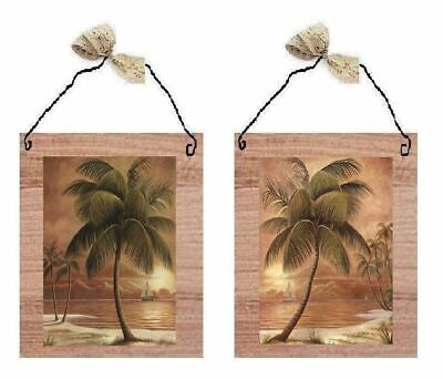 💗 Palm Tree Pictures Tropical Beach Trees Ocean Sand Wall Hangings Plaques