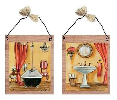 Victorian Pictures Orange Paris Bathroom Wall Hangings Old Sink Tub - Orange Tub