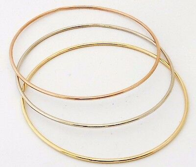 10 K. & 14 K. Solid Gold(Not Hollow)1.50 mm. Round Wire Stacking Bangle Bracelet 14k Solid Gold Bangle
