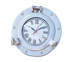 Ship's Cabin Porthole Clock Brushed Nickel Finish 8 Aluminum Hanging Wall Decor