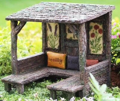 Miniature Fairy Picnic  Gathering Place  w pillows WS 564 Garden Shelter House - Faerie Shoes