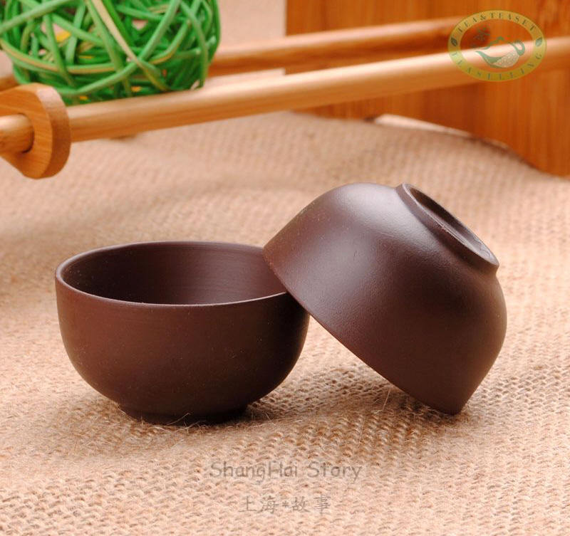 20ml 0.7oz Yixing Zisha Purple Clay Brown Gongfu Teacups * 2pcs