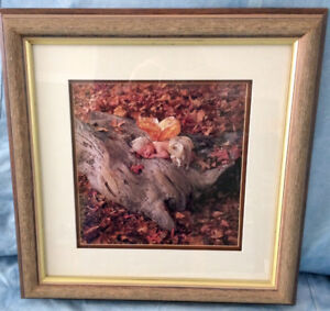 "Anne Geddes style ""Butterfly"" print solid wood frame 10.5""x 19"""