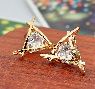 Aretes De Mujer Ni A Diamantes Triangulo Ba Ado En Plata O Oro   Women Earrings