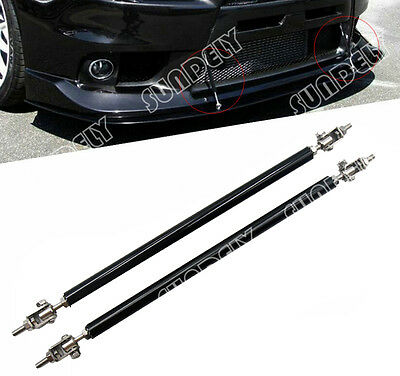 BLACK ADJUSTABLE 97  132 FRONT BUMPER LIP SPLITTER ROD STRUT TIE BAR SUPPORT