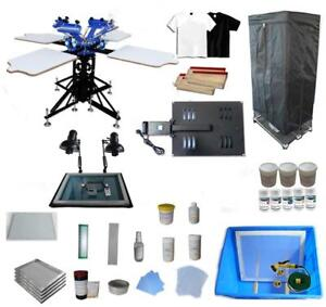 3 Color 4 Station Screen Printing Kit with Simple Flash Dryer & Silk Screen Exposure 006889 Item number 006889