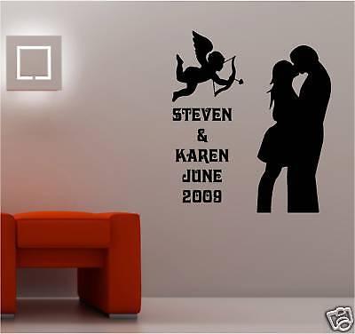 Boda Personalizado Pegatina Vinilo Pared Mural Dormitorio