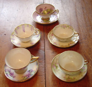 5 Pretty Cup & Saucer Sets