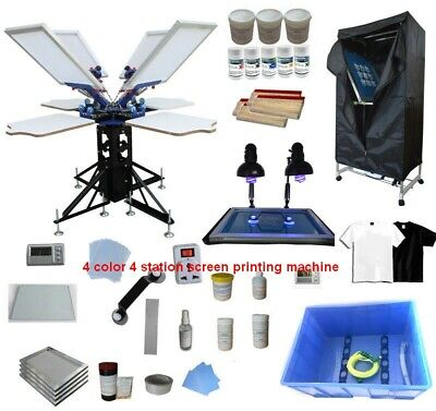 4 Color 4 Station Screen Printing Kit Silk Screen Press Exposure Unit Shirt Diy