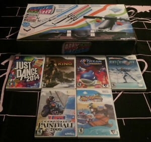 6 Nintendo Wii Video games + New Sports accessory pack