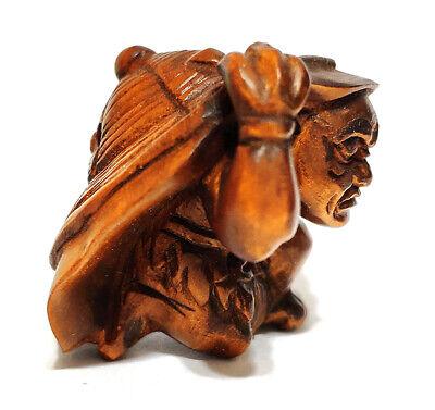 """Q4157-2 /"""" Hand carved Boxwood Netsuke 2 Fish"""