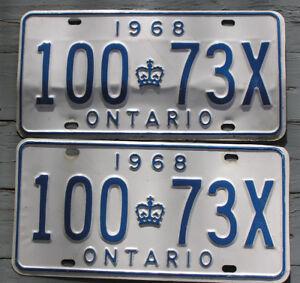 1968 Ontario License Plate set - 100*73X - YOM eligible