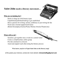 A Saint John Literary Movement, interested?