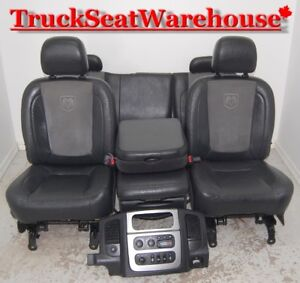 Dodge Ram 05 BLACK LEATHER and SUEDE Power Heated Truck Seats