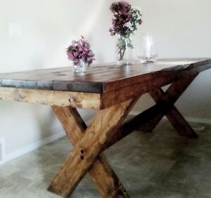 RUSTIC HANDCRAFTED FARM DINING TABLE