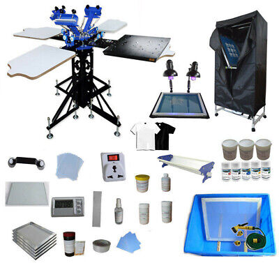 3 Color 4 Station Screen Printing Material Equipment Kit Press Printer Shirt D