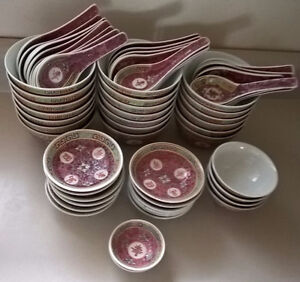 Vintage Chinese Famille Rose Rice Bowls, Small Bowls & Spoons