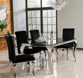 Louis Black Dining Table and 6 Velvet Chairs
