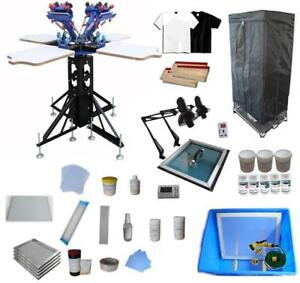 4 Color Screen Printing Press Materials Kit with Exposure Unit & Drying Cabinet 006940