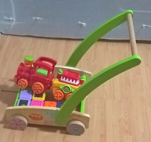 Wooden Push and Pull Toy Roll Cart Toddler including toys