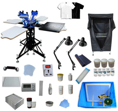 TECHTONGDA 3 Color 4 Station T-shirt Screen Printing Kit with Drying Cabinet