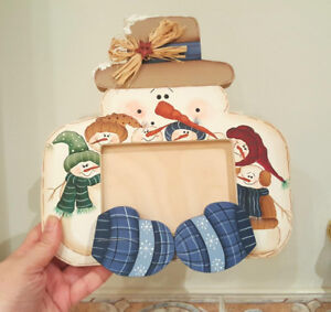 SNOWMAN Christmas Family Wood Picture Frame - Hand Painted