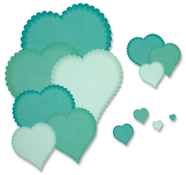 Crafts Too Presscut cutting die  - nesting scalloped hearts - 13 piece pcd81