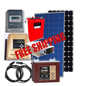 Solar panels, controllers, inverters, batteries, solar cables
