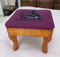 Vintage Wood Foot Stool - Needlepoint (Woman & Spinning Wheel)