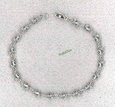 Tiny Cats Antique Silver Plated Bracelet Or Anklet Choose Your Size