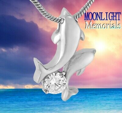 Dolphin Keepsake - New Dolphin Crystal child Cremation Urn Keepsake Ash Silver Memorial Necklace