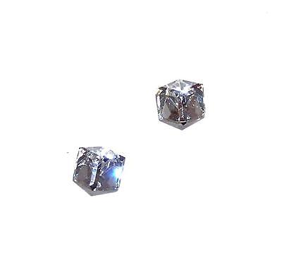- EARRINGS Studs ST Diagonal Mounts 6MM Medium CLEAR CUBE CRYSTALS