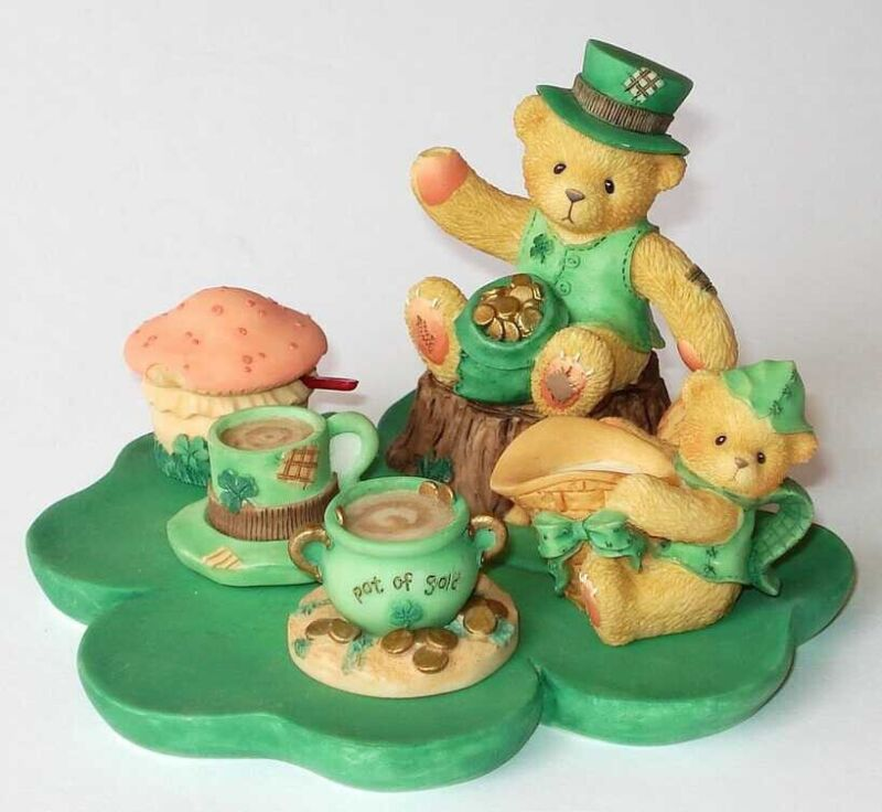 Vintage NEW Cherished Teddies #542105 Mini Irish Tea Set Abbey Press Exclusive