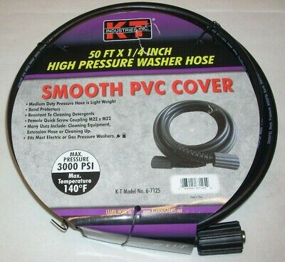 Kt Industries 6-7125 14 X 50 High Pressure Washer Hose W M22 Fittings 3000 Psi