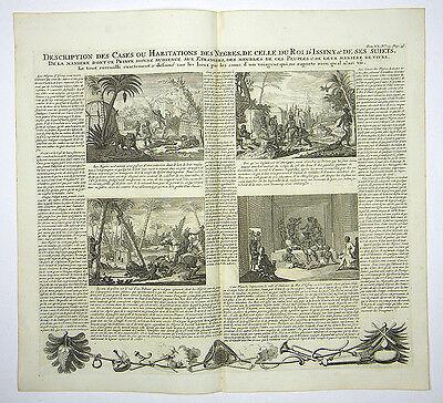 BEHAUSUNG EINWOHNER AFRIKA GROßER KUPFERSTICH ANSICHT CHATELAIN II1719 AD #D949S