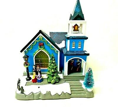 Animated Victorian LED Musical Village Christmas Carolers Light Up Church Bells