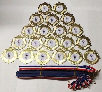 - 20 X Martial Arts Medals - Gold  With Ribbons