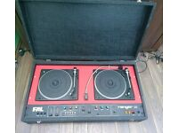 Vintage FAL RANGER mobile disco turntable with 2 Marquis David Hunt speakers