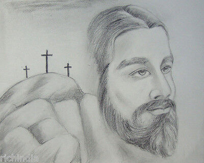 Christian Jesus Artwork Handmade Christ Crucifix Religious pencil sketch India
