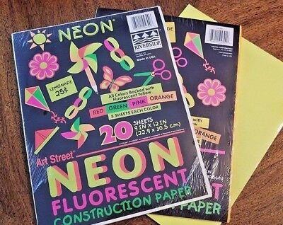 ART STREET Neon Fluorescent Construction Paper 20 9x12 Sheets 3 packs Art Paper