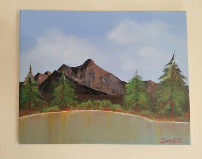 Original canvas painting. Autumn mountains and lake.Large-40x50cm one of a kind.